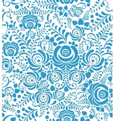 White and blue seamless pattern in russian style vector