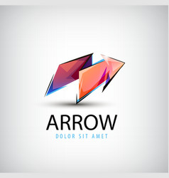 3d colorful shiny crystal arrow logo icon vector image