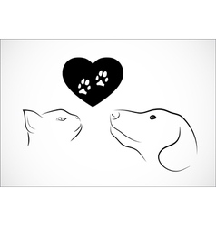 Cat and dog needs love vector image