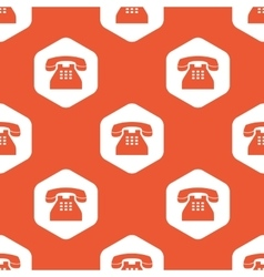 Orange hexagon phone pattern vector