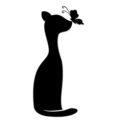Cat and butterfly contours vector