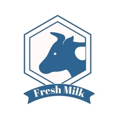Milk cow logo badge template some nature drinks vector