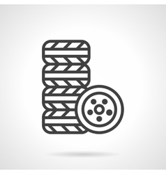 Automobile tires kit black line icon vector
