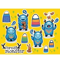 cartoon funny monsters stickers collection vector image