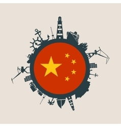 Cargo port relative silhouettes china flag vector
