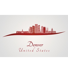 Denver skyline in red vector