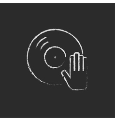 Dj hand with disc icon drawn in chalk vector image