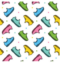 Doodle sneakers shoes seamless pattern background vector