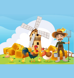 Farmer and windmill on the farm vector