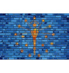 Flag of Indiana on a brick wall vector image vector image