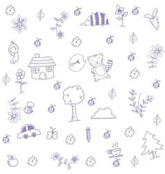 Funny garden of doodle art vector image vector image