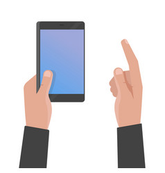 hand holding phone and touch smartphone screen vector image
