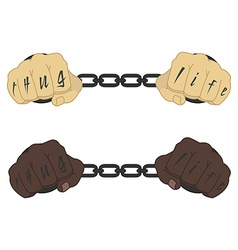 Hands in steel handcuffs with tattoo vector image vector image