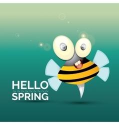 Hello spring cartoon cute bright baby bee vector