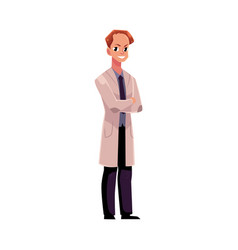 male man doctor in medical coat standing with vector image vector image