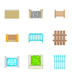 Many fence design elements icons set vector