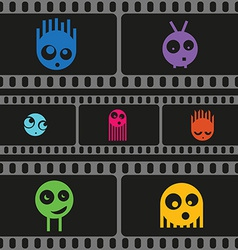 Monsters and film strip seamless pattern vector image vector image