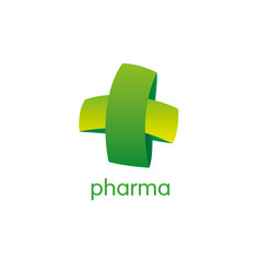 Pharmacy logo medicine green cross abstract vector