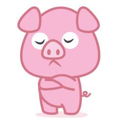 pink pig cartoon character vector image