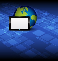 tablet computer and globe vector image vector image