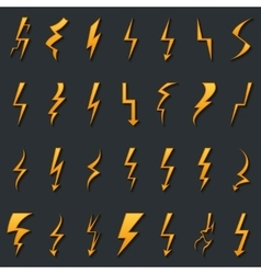 Thunder lightning bolt pictogram icons set design vector