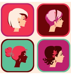 woman icons vector image vector image