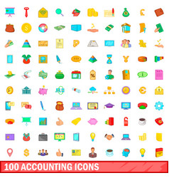 100 accounting icons set cartoon style vector