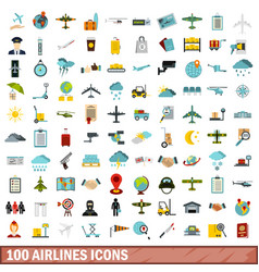 100 airlines icons set flat style vector