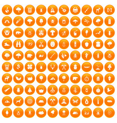 100 forest icons set orange vector