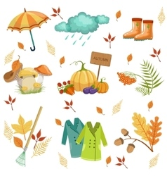 Set of associated with autumn objects vector
