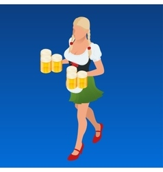 Waitress bavaria wit beer mugs decorated vector