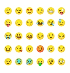 Set of cute smiley emoticons emoji flat design vector image