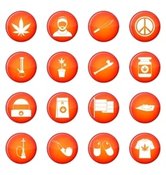 Rastafarian icons set vector