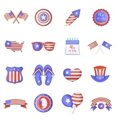Independence day icons set cartoon style vector