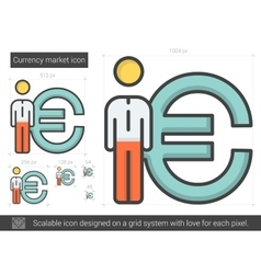 Currency market line icon vector