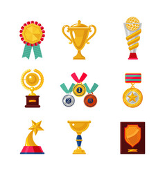 Cartoon awards set trophy icons collection vector