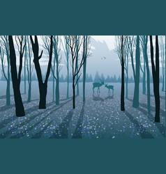 wild animals deer doe in forest vector image