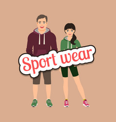 Fashion couple in sport style clothing vector