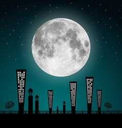 Abstract full moon landscape vector