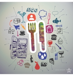 Hand drawn food icons set and sticker with cutlery vector image