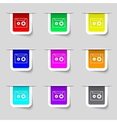 Cassette sign icon audiocassette symbol set of vector