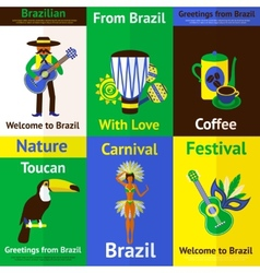 Brazil mini poster set vector