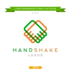 Abstract outline handshake logo flat style vector