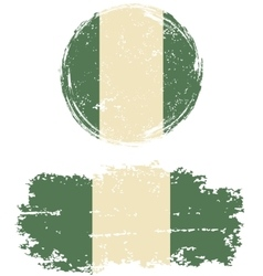 Nigerian round and square grunge flags vector