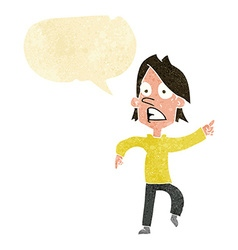 Cartoon worried man pointing with speech bubble vector