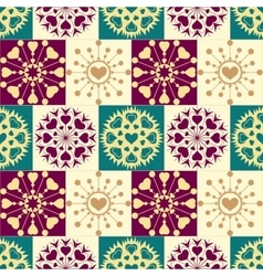 Christmas seamless checked pattern with heart vector