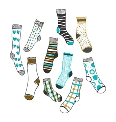 Set of doddle socks on a white background vector image