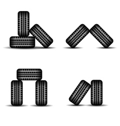 Set of four tire tracks in stock vector