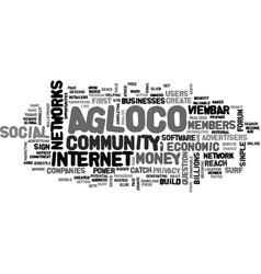 Agloco forum website text word cloud concept vector