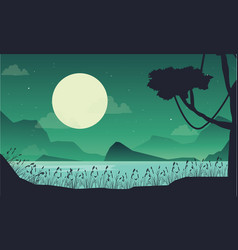 Art scenery lake at the night vector